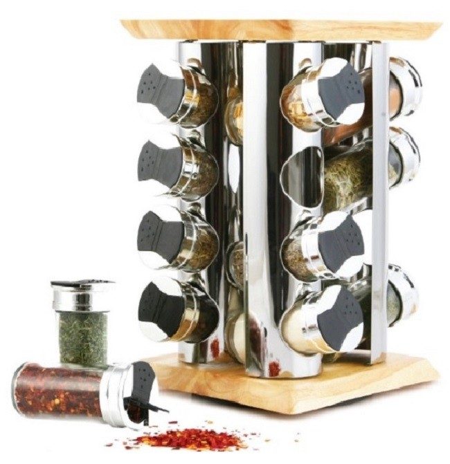 GSR3021A - 16 Jar Spice Rack Set Rubber Wood