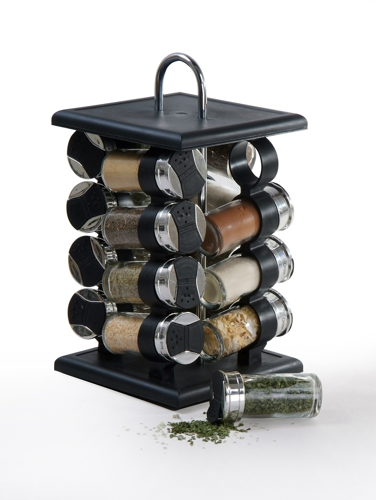 GSR3318 16 Jar Black and Chrome Spice Rack