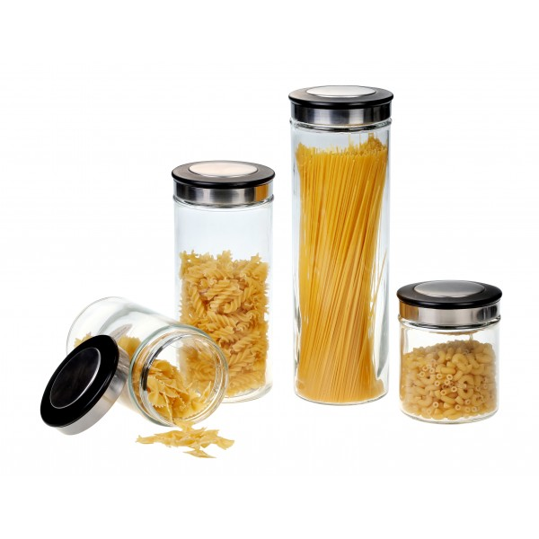 gbs3013 deco 4 piece black canister set kitchen